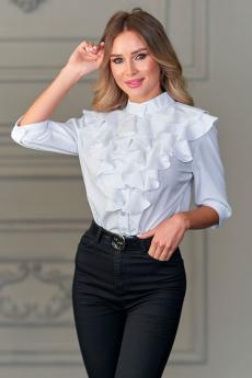 Белая блуза с рюшами Look Russian